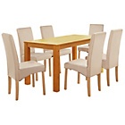 more details on Jackson Oak Stain 150cm Dining Table and 6 Cream Chairs.