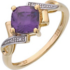 more details on 9ct Gold Plated Sterling Silver Amethyst Cubic Zirconia Ring