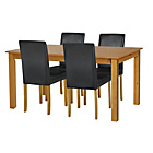 more details on Ashdon Oak Stain 120cm Table & 4 Black Mid Back Chairs.