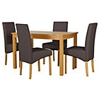 more details on HOME Lincoln Oak Effect 120cm Dining Table-4 Chocolate Chair