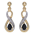 more details on 9ct Gold Sapphire And Diamond Drop Earring