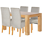 more details on Heart of House Alston Oak 150cm Table and 4 Grey Chairs