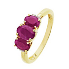 more details on 9ct Gold Ruby 0.02ct Diamond Trilogy Ring.