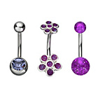 more details on Stainless Steel Purple Belly Bars Set of 3.
