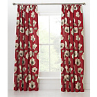 more details on Elissia Poppy Unlined Pencil Pleat Curtains 229x229cm - Red.