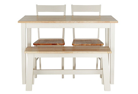 Collection Chicago Dining Table, Bench & 2 Chairs -Two Tone.