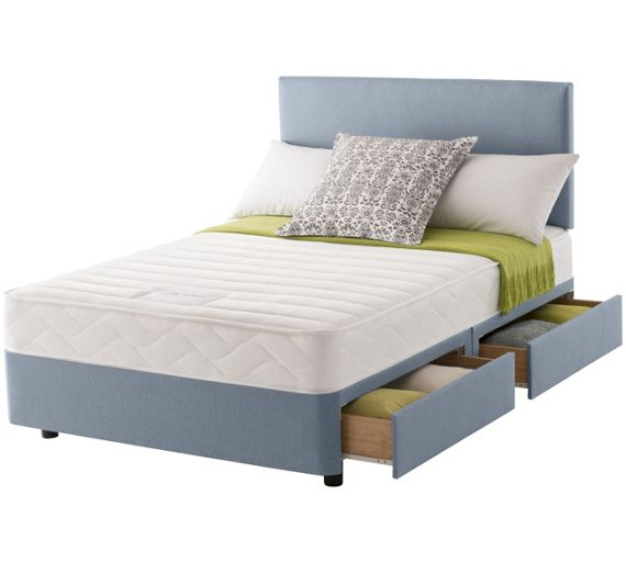 Buy Layezee Calm Memory Micro Quilt Double 4 Drawer Divan Bed At Your Online Shop