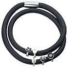 more details on Leather Wrap Double Black Bracelet with Three Silver Charms.