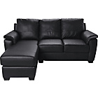 more details on HOME Antonio Corner Leather/Leather Eff Left Hand Sofa-Black
