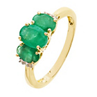more details on 9ct Gold Emerald 0.02ct Diamond Trilogy Ring.