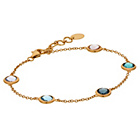 more details on Gold Plated Silver Multi Colour Glass Bead Station Bracelet