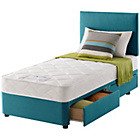 more details on Layezee Calm Micro Quilt Single 2 Drawer Teal Divan Bed.