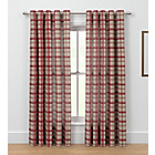 more details on Printed Check Unlined Eyelet Curtains 168 x 183cm - Red.