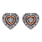 more details on Silver and 9ct Rose Gold Plated Diamond Heart Earrings.