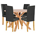 more details on Memphis Natural Round Dining Table and 4 Black Midback Chair