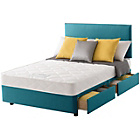 more details on Layezee Calm Micro Quilt Double 4 Drawer Teal Divan Bed.