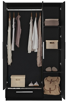 Buy Collection Sparkle 3 Door 1 Drawer Wardrobe Black At