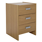 HOME New Capella 3 Drawer Bedside Chest - Oak Effect