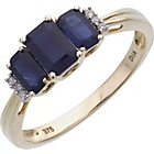 more details on 9ct Gold Blue Sapphire 0.02ct Diamond Trilogy Ring.