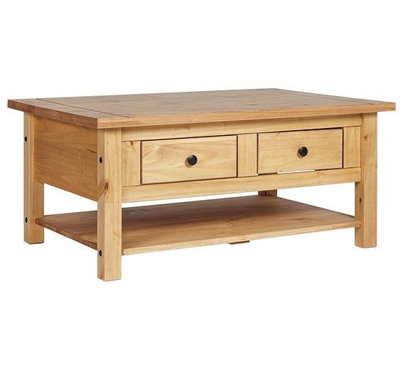 Buy home san diego 2 drawers 1 shelf coffee table pine at your online shop for Pine coffee table with drawers