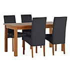 more details on Jackson Oak Stain 120cm Dining Table and 4 Black Chairs.