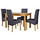 more details on HOME Lincoln Oak Effect 120cm Dining Table-4 Charcoal Chairs