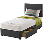 more details on Layezee Calm Micro Quilt Single 2 Drawer Ebony Divan Bed.