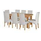 more details on Cosgrove Ext Oak Stain Dining Table & 8 Grey Chairs.
