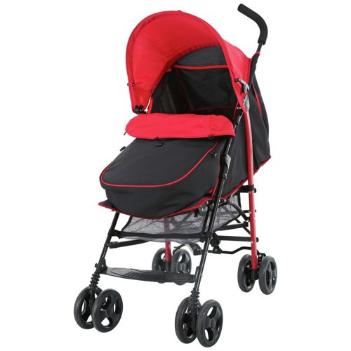 Fisher Price Pushchair with Footmuff - Black & Red