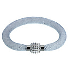 more details on White Crystal Satin Clasp Grey Bracelet.