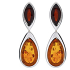 more details on Sterling Silver Amber Double Leaf Drop Earrings.