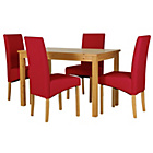 more details on Lincoln Oak Effect 120cm Dining Table and 4 Red Chairs.