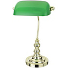 more details on Green Glass and Polished Brass Bankers Lamp.