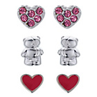 more details on Forever Friends Silver Plated Stud Earrings - Set of 3.