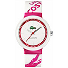 more details on Lacoste Unisex Goa Pink and White Strap Watch.
