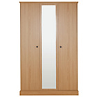 more details on Kensington 3 Door Mirrored Wardrobe - Oak Effect.