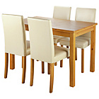 more details on Ashdon Oak Stain 120cm Dining Table & 4 Cream Midback Chairs