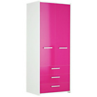 more details on HOME New Sywell 2 Dr 3 Drawer Wardrobe - White & Pink Gloss.