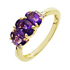 more details on 9ct Gold 0.03ct Diamond Amethyst Trilogy Ring.