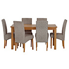 more details on HOME Lincoln Oak Effect 150cm Dining Table - 6 Floral Chairs