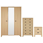 more details on Marlow 3 Piece 3 Door Wardrobe Package - Oak.