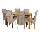 more details on HOME Lincoln Oak Effect 150cm Dining Table-6 Checked Chairs.