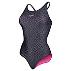 more details on Speedo Monogram  Muscleback Swimsuit ‑ Black and Grey.