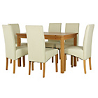 more details on HOME Lincoln Oak Effect 150cm Dining Table - 6 Cream Chairs.
