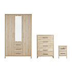 more details on Washington 3 Piece 3 Door Wardrobe Package - Warm Oak.