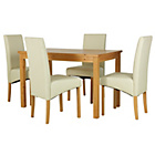 more details on HOME Lincoln Oak Effect 120cm Dining Table - 4 Cream Chairs.