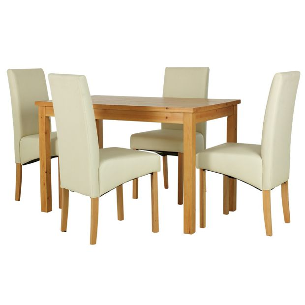 Buy HOME Lincoln Solid Pine Table & 4 Chairs - Oak Effect ...