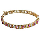 more details on Gold Plated Silver Created Ruby and Diamond Bracelet.