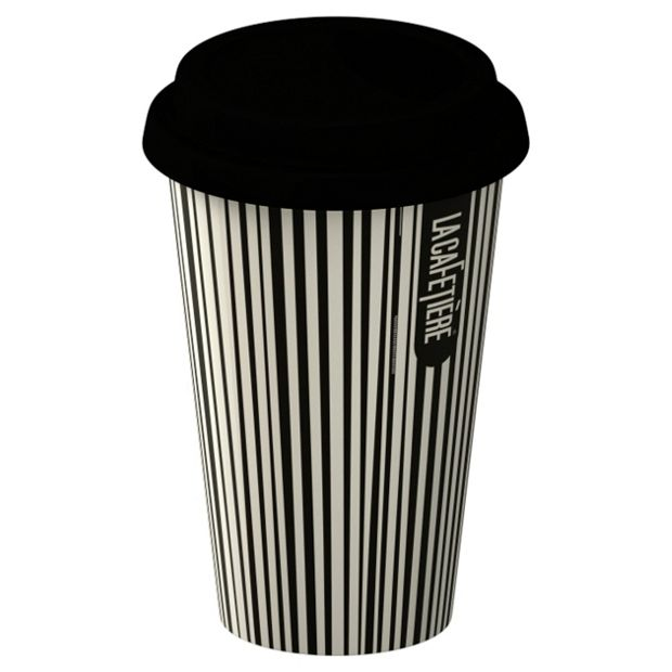 buy la cafetiere porcelain stripe travel mug black at. Black Bedroom Furniture Sets. Home Design Ideas