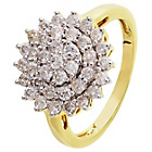 9ct Gold 1.00ct tw Diamond Cluster Ring.